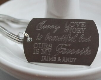 Every Love Story is My Favorite Personalized Key Chain - Engraved
