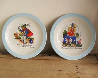 NURSERY RHYME Plates PAIR of Children's Plates Nursery Decor 70s Retro Child's Plates Display/Use Primary Colours 6 Inch Plates VintageChina