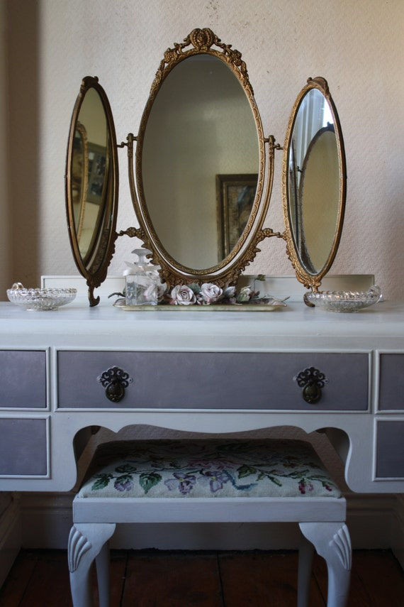 Vintage metal framed triple dressing table mirror