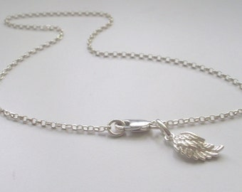 """Sterling Silver Angel Wing Charm Anklet,Ankle Chain, Wing Charm,Ankle Bracelet,handmade,summer jewellery,gift for her,girlfriend gift, 9-12"""""""
