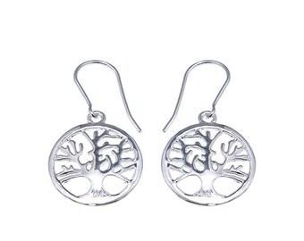 925 Sterling Silver The Enternal life Tree Hook Earrings