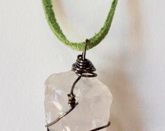 Clear quartz necklace, green suede cord