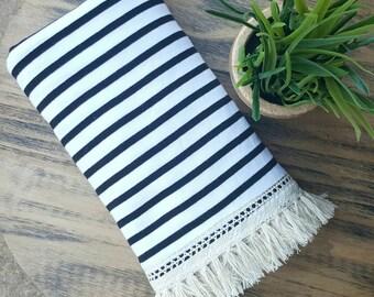 Black and White Stripe Fringe Blanket