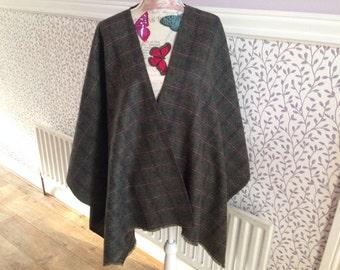 Irish Shawl - Wool Ruana - Wrap - 100% Irish Wool - Perfect throw over for cooler evenings -Tartan Plaid Check