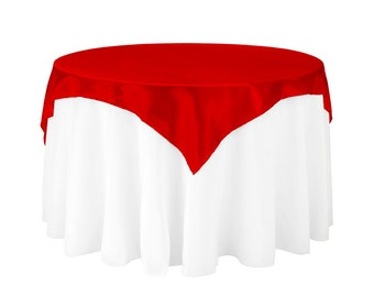 60 inch Square Satin Overlay Red | Table Overlays