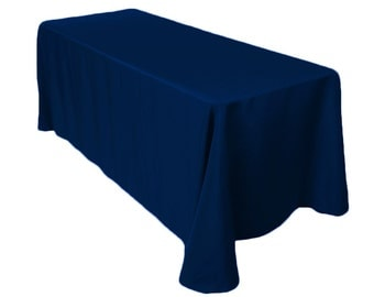 90 X 132 Inch Rectangular Navy Tablecloth Polyester | Wedding Tablecloth