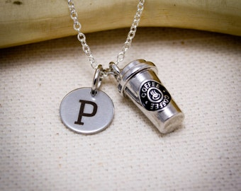 3D Coffee Cup and Initial Charm Necklace - Personalized Initial Necklace, Coffee Necklace, Coffee Lover, Coffee Gift, Barista Necklace