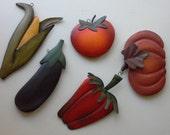 Set of Five American Primitive Tin Vegetables Kitchen Wall Decor