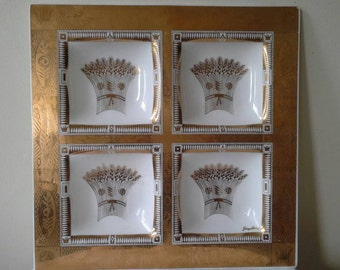 Georges Briard Stalks of Wheat Gold Glass Platter