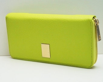 "Womens wallet ""Kira"" in green-yellow, genuine leather, wallet, purse, portmonee, portemonnaie, handmade, new"
