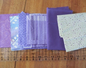 Destash- 6 Purple Quilter's Cotton Fabric Remnants