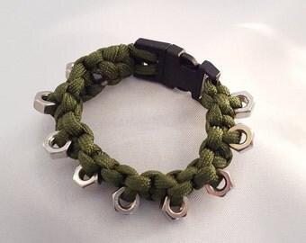 Bracelet with hex nuts, Para Bracelet, Paracord Bracelet, mens bracelet, braided bracelet