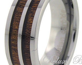 Tungsten Wood Wedding Ring,Double Wood Inlay,Tungsten Wood Wedding Band,Tungsten Wedding Ring,Promise,Anniversary,Engagement,FREE Engraving