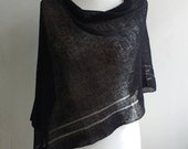 black linen poncho, evening shawl, summer poncho, gift for her, boho top, summer linen