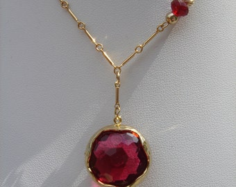 Necklace, gold filled with followers of fiery red crystal glass!