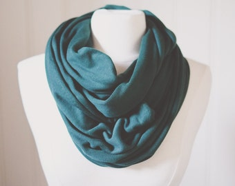 Forest Green Infinity Scarf | Jersey Knit | Double Wrap | Handmade | Blue | Green | Circle Scarf