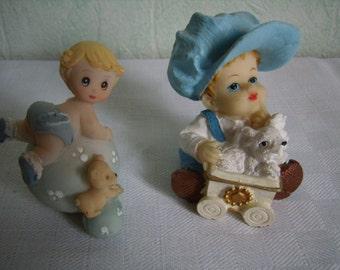 Decor cake birth, Vintage Figurines boys collection Figurine, table decor