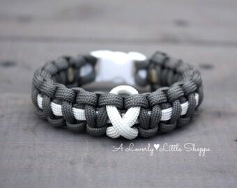 Lung Cancer Awareness Paracord Bracelet - Lung Disease - White Ribbon - Support - Survival Bracelet - Custom - Handmade