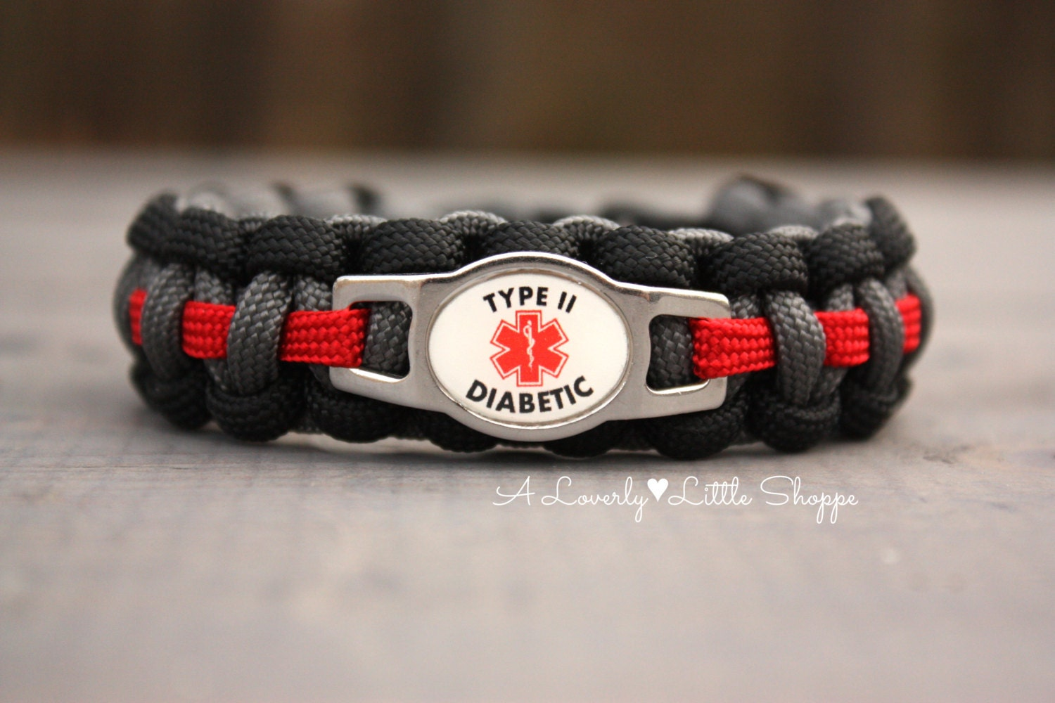 alert type 2 diabetes paracord bracelet with stainless