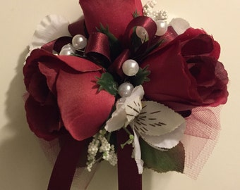 Large Burgundy Rose Wrist Corsage, Burgundy Rose Prom Corsage, Wedding , Mother of the Bride