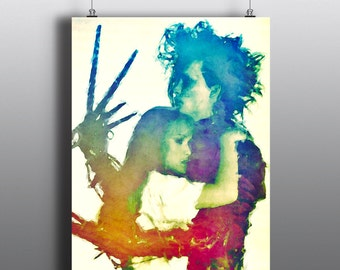 Edward Scissorhands - Johnny Depp and Winona Ryder, Tim Burton Movie, Mixed Media Art Print, Watercolor Print, Poster No166
