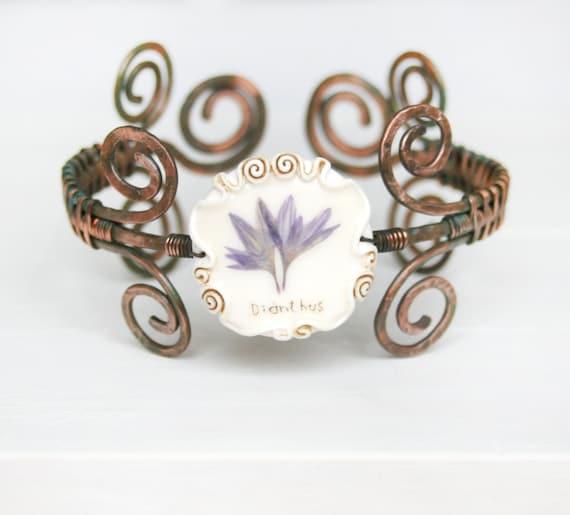 Real Flower Copper Hand  Bracelet . Adjustable  Bracelet.  Grandma's Garden. Romantic Vintage Style. Real Flower Jewelry.