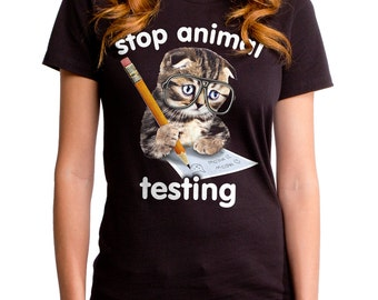 Stop Animal Testing (GT6359-502BLK) Women's Tee. cat lover, animal cruelty, cats, nerdy cats, glasses, nerdy tees, cute cats, cat tee.