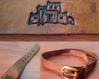 Pueblo and Tortoise Leather Belt - Brass Buckle - Western/Santa Fe