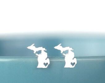 Silver Michigan Earrings, Michigan Map Jewelry, Michigan Studs, I heart Michigan, Michigan State silhouette