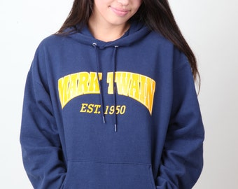 Mark Twain Navy and Yellow Hoodie large L