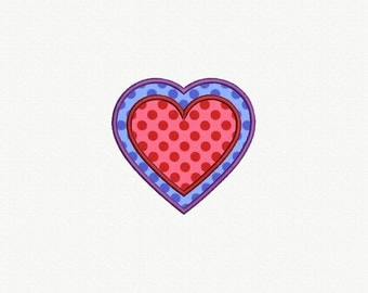 Heart Applique Machine Embroidery Design - 5 Sizes