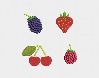 Fruits Machine Embroidery Design - 4 Designs by 3 Sizes