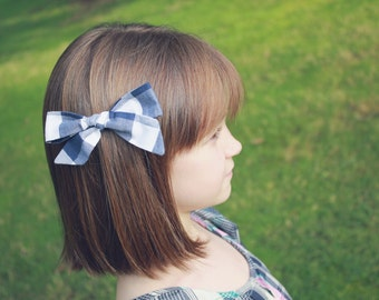 Gingham Oversized Bow // Blue and White