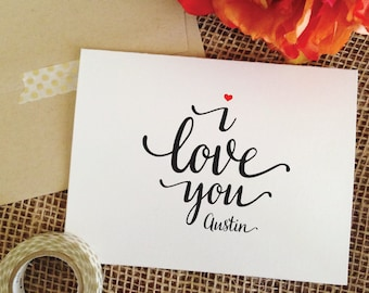i love you card personalized wedding card anniversary card for boyfriend card for girlfriend card for wife (Lovely)