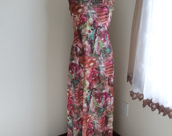 70s Maxi Dress with Jacket  by London Size 16 Sleeveless Formal Evening Gown Bright Print