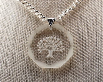 Vintage Glass Tree Pendant on Silver Chain