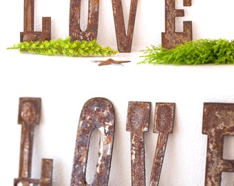 Rusty Metal LOVE letters - Rustic / Shabby Chic / Industrial - Free Shipping Within the USA