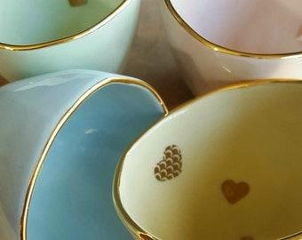 Alice falling hearts ceramic and lustre teacups