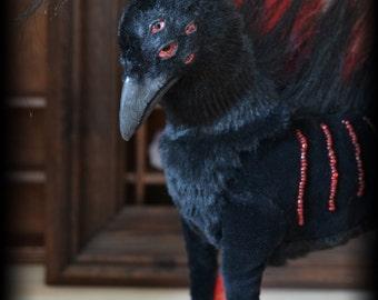 Dark Crow-Dog, Raven,Fantasy animal, faux taxidermy, Soft Sculpture, red black, Handmade, OOAK, Animal sculpture, Dog, Crow with 8 eyes