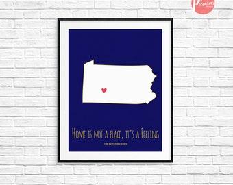 Home State Art Printable - Pennsylvania, Custom Wall Art Print