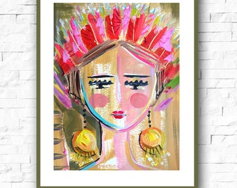 Portrait Print, Warrior Girl 2,  impressionist modern abstract woman paper or canvas