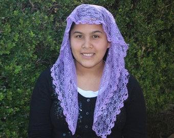 Lilac Mantilla - Lilac Veil-- Lilac Mantilla Chapel Veil Headcovering -- Church Veil