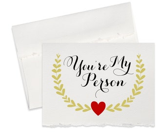 Youre my person, valentine card for boyfriend, girlfriend, husband wife fiance newlyweds i love you card cute will you be my valentine cards