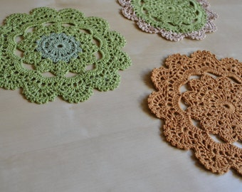 Set of 3 small crochet table doilies