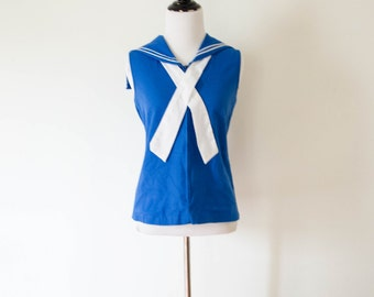 Vintage 1970's 'Hello Sailor' Nautical Top Size M