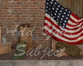 Digital Photo Backdrop USA Military Background