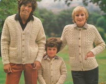 Knitting Pattern Child's /  Ladies / Men's Aran / Fisherman / 10 ply size 26-44in 65-101 cm