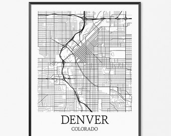 Denver Map Art Print, Denver Poster Map of Denver Decor, Denver City Map Art, Denver Gift, Denver Colorado Art Poster