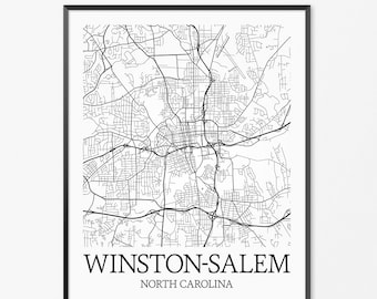 Winston Salem Map Art Print, Winston Salem Poster Map of Winston Salem Decor, Winston Salem City Map Art, Winston Salem Gift Art Poster