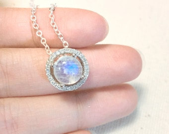 Moonstone Necklace Sterling Silver, Dainty Floating Halo Necklace, Natural Blue Rainbow Moonstone, June Birthstone, Wedding Anniversary Gift